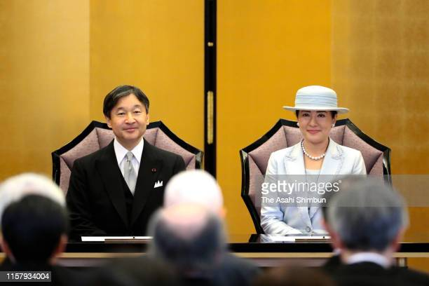 Emperor Naruhito and Empress Masako attend the Japan Art Academy Award Ceremony on June 24, 2019 in Tokyo, Japan.