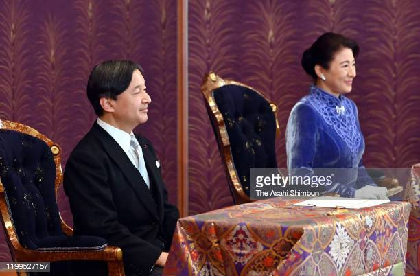 Emperor Naruhito and Empress Masako attend the 'Kosho HajimenoGi' first lecture of the New Year at the Imperial Palace on January 14 2020 in Tokyo...