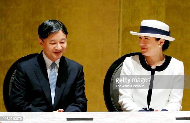 Emperor Naruhito and Empress Masako attend the opening ceremony of the 2019 IEEE International Geoscience and Remote Sensing Symposium at Pacifico...
