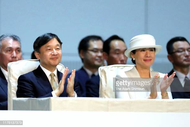 Emperor Naruhito and Empress Masako attend the opening ceremony of the National Cultural Festival on September 16 2019 in Niigata Japan