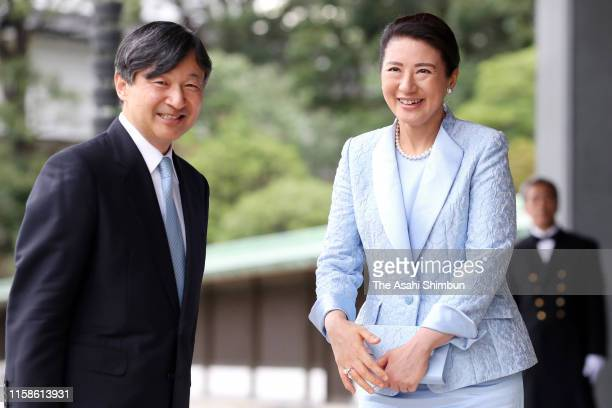 Emperor Naruhito and Empress Masako bow to media after seeing off French President Emmanuel Macron and his wife Brigitte after their meeting and...