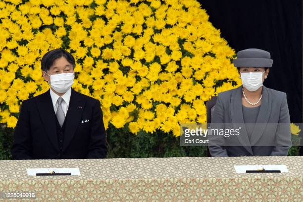 Emperor Naruhito and Empress Masako of Japan wearing face masks, attend a memorial service marking the 75th anniversary of Japan's surrender in World...