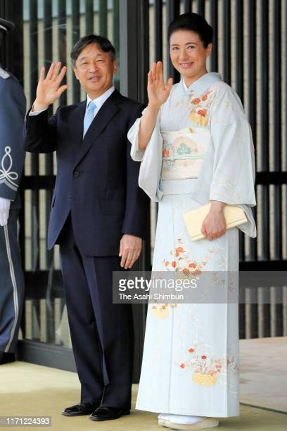 Emperor Naruhito and Empress Masako see off the guests after the tea party inviting African leaders at the Imperial Palace on August 30, 2019 in...