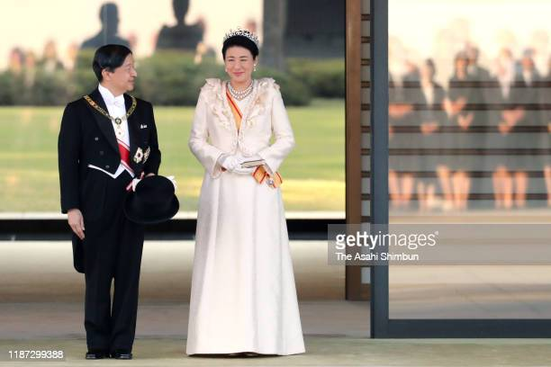 Emperor Naruhito and Empress Masako stand prior to the imperial parade for enthronement of Emperor Naruhito on November 10, 2019 in Tokyo, Japan....