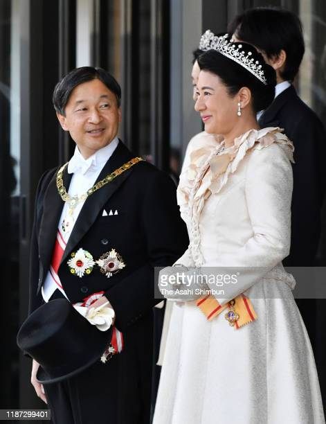 Emperor Naruhito and Empress Masako stand prior to the imperial parade for enthronement of Emperor Naruhito on November 10 2019 in Tokyo Japan...