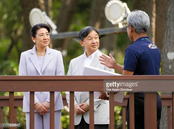Emperor Naruhito and Empress Masako visit Unomisaki on September 29, 2019 in Hitachi, Ibaraki, Japan.
