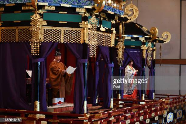 Emperor Naruhito delivers his speech as Empress Masako attends the enthronement ceremony where emperor officially proclaims his ascension to the...