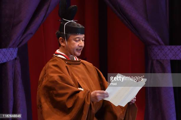Emperor Naruhito delivers his speech during the enthronement ceremony where he officially proclaims his ascension to the Chrysanthemum Throne at the...