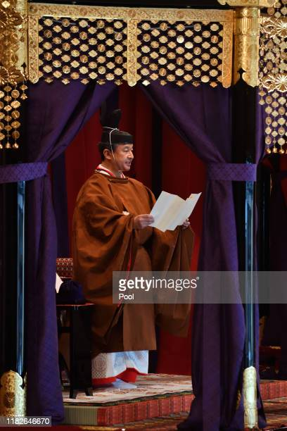 Emperor Naruhito delivers his speech during the enthronement ceremony where emperor officially proclaims his ascension to the Chrysanthemum Throne at...