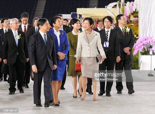 Emperor Naruhito, Empress Masako and Princess Hisako of Takamado attend the International Orchid and Flower Show at the Tokyo Dome on February 14,...