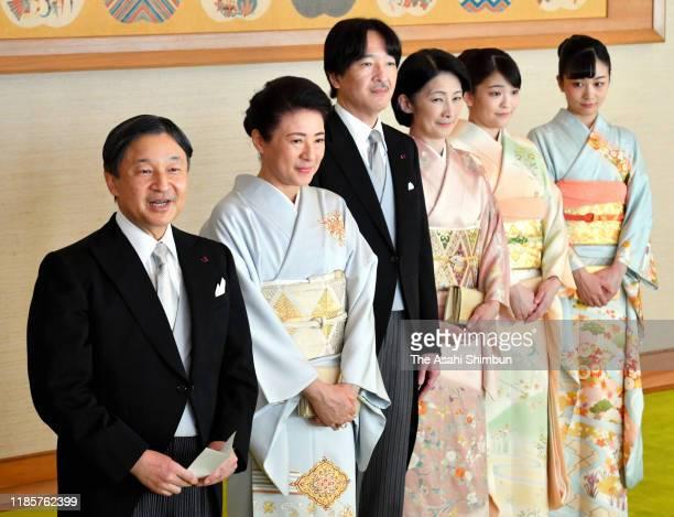 Emperor Naruhito, Empress Masako, Crown Prince Fumihito, Crown Princess Kiko of Akishino, Princess Mako and Princess Kako of Akishino greet the Order...