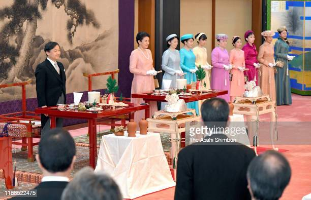 Emperor Naruhito, Empress Masako, Crown Princess Kiko of Akishino, Princess Mako of Akishino, Princess Kako of Akishino, Princess Nobuko of Mikasa,...