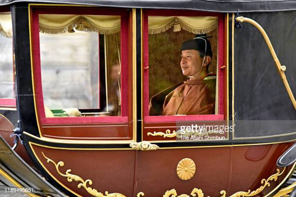 Emperor Naruhito is seen on the coach on his way to the Geku, Outer Shrine of the Ise Shrine on November 22, 2019 in Ise, Mie, Japan. Emperor and...