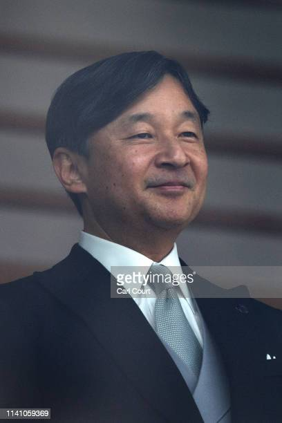 Emperor Naruhito of Japan addresses members of the public from the balcony of the Imperial Palace on May 4 2019 in Tokyo Japan Emperor Naruhito has...