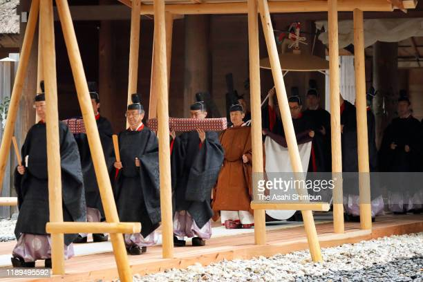 Emperor Naruhito visits the Geku, Outer Shrine of the Ise Shrine on November 22, 2019 in Ise, Mie, Japan. Emperor and empress visit the shrine to...