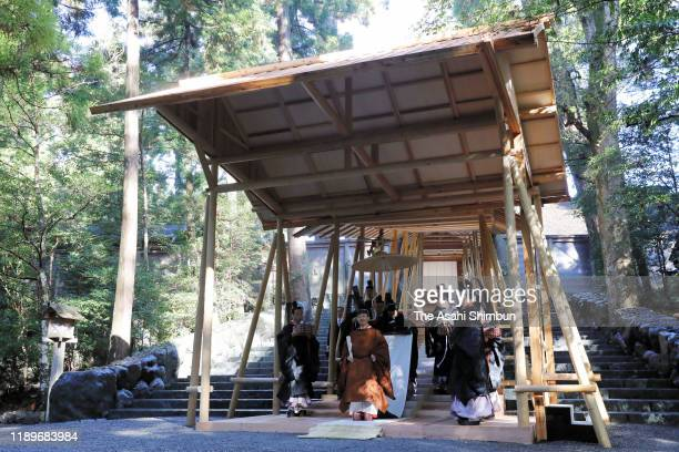 Emperor Naruhito visits the Naiku, Inner Shrine of the Ise Shrine on November 23, 2019 in Ise, Mie, Japan. Emperor and empress visit the shrine to...