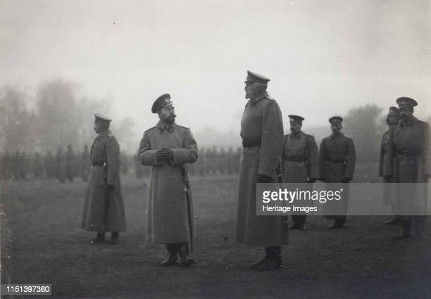 Emperor Nicholas II and Grand Duke Nikolai Nikolaevich at Baranovichi, September 1914, 1914. Found in the collection of Russian State Film and Photo...
