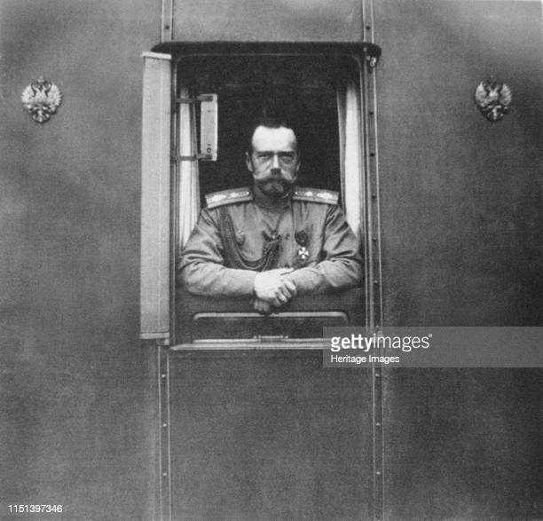 Emperor Nicholas II at window of the own railroad car, 1917. Found in the collection of State History Museum, Moscow. Artist Anonymous.