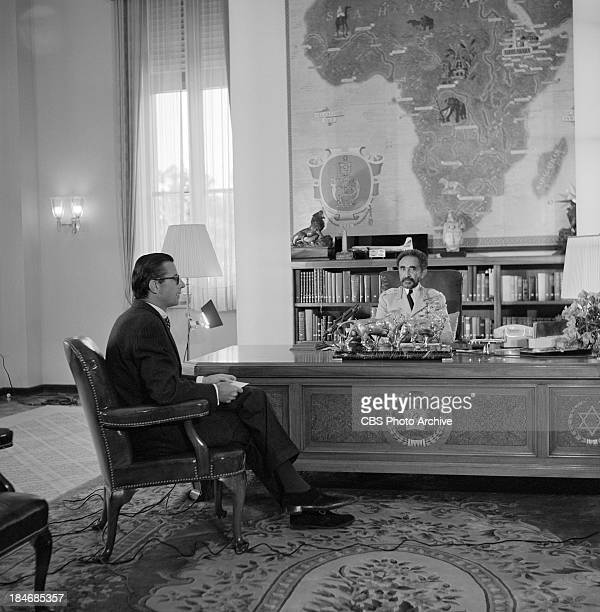 Emperor of Ethiopia Haile Selassie being interviewed in the Jubilee Palace in Addis Ababa Ethiopia on THE TWENTIETH CENTURY Episode called Ethiopia...