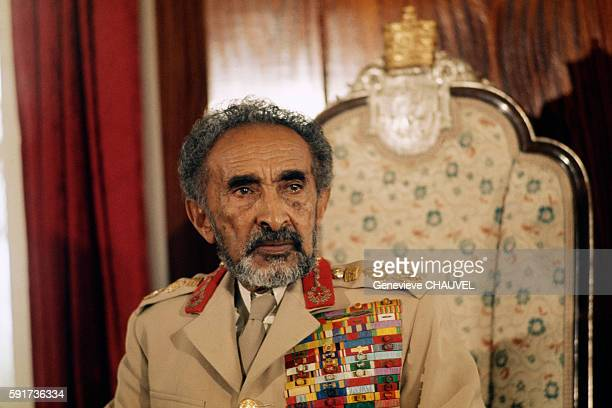 Emperor of Ethiopia Haile Selassie in the Throne Room of the Jubilee Palace