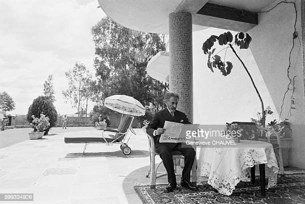 Emperor of Ethiopia Haile Selassie relaxing at the Fairfield Palace in Debre Zeit