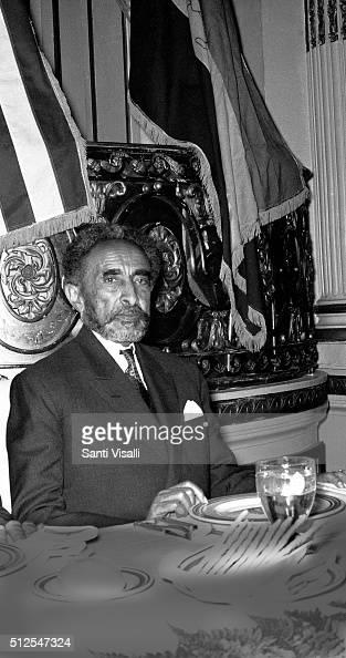 Emperor of Etiopia Haile Selassie posing for a portrait on