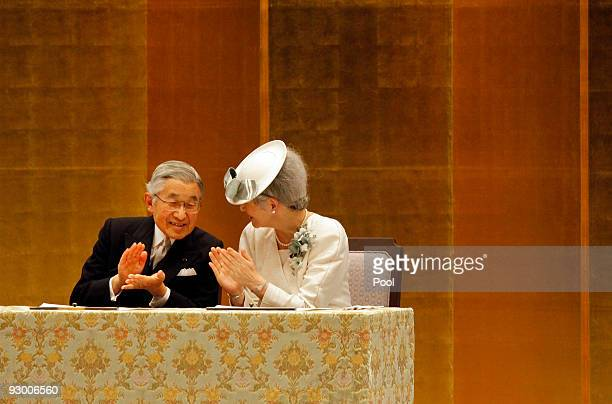 Emperor Of Japan Akihito accompanied by Empress Michiko attend a ceremony to mark the 20th anniversary of the monarch's ascension to the throne at...