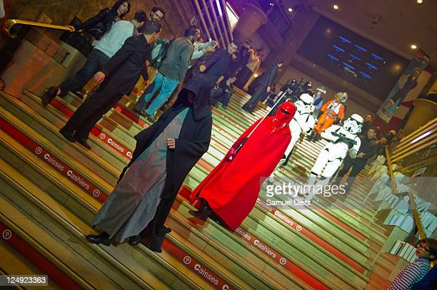 Emperor Palpatine and Carnor Jax with Stormtroopers at the Star Wars Saga release party at Virgin Megastore Champs-Elysees on September 13, 2011 in...