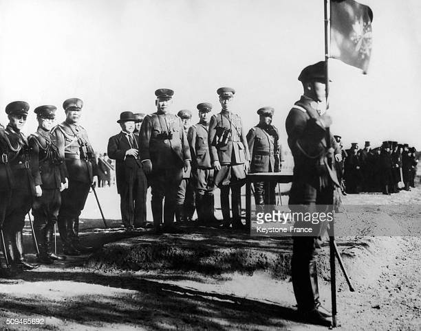 Emperor PuYi of Manchukuo with army officers reviewing the troops who took part in the military maneuvers during the sinojapanese war in Changchun...