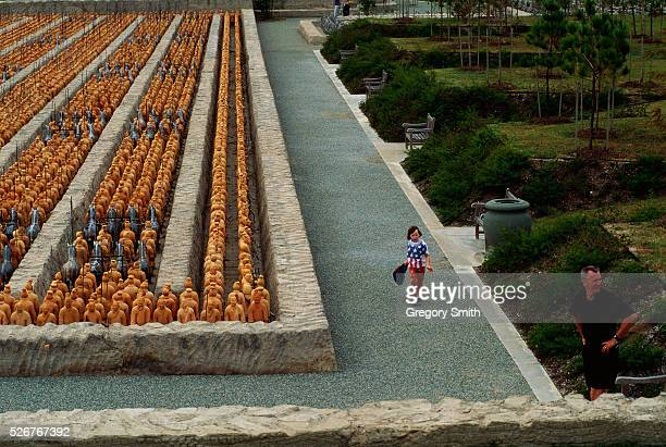 Emperor Qin Shi Huangdi's terra cotta army stands in the Forbidden Gardens a smaller replica of Beijing's Forbidden City found in Katy Texas
