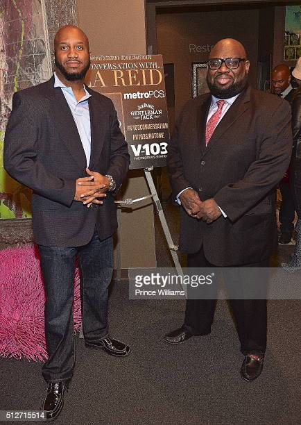 Emperor Searcy and Reggie Rouse attend a conversation with LA Reid at SCADshow on February 24 2016 in Atlanta Georgia