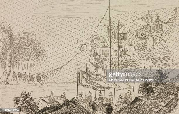 Emperor Sui Yangdi on his parade boat China engraving from Chine ou Description historique geographique et litteraire de ce vaste empire d'apres des...