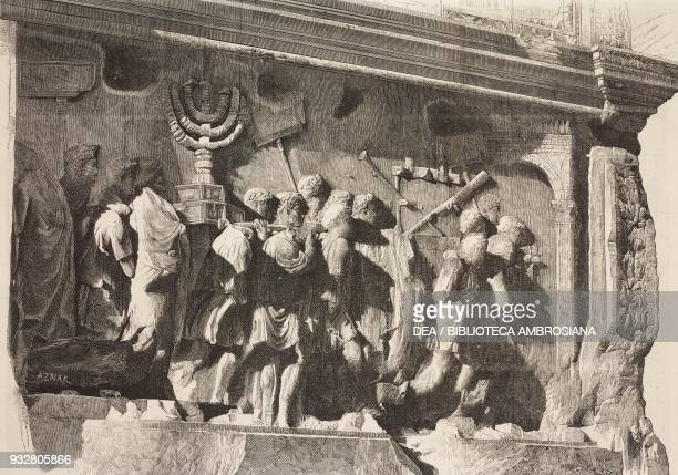 Emperor Titus' triumphal entry in Rome following the conquest of Judea basrelief on the Arch of Titus Rome Italy illustration from La Ilustracion...