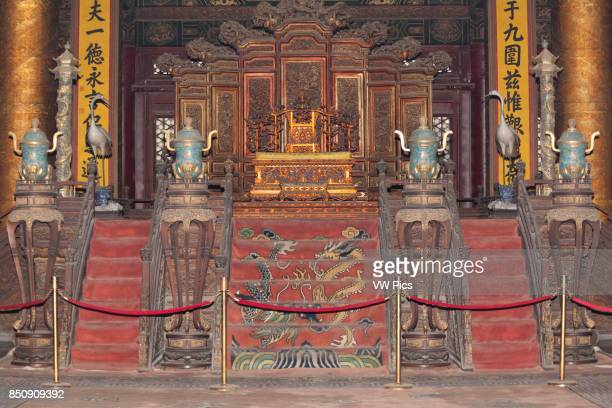 Emperor's or Imperial throne Hall of Supreme Harmony The Forbidden City Beijing China