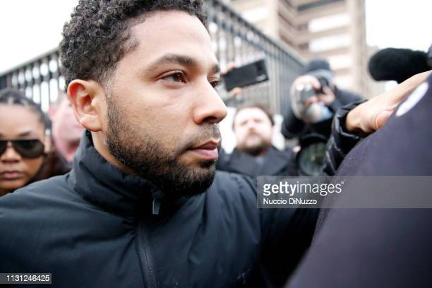 Empire actor Jussie Smollett leaves Cook County jail after posting bond on February 21 2019 in Chicago Illinois Smollett has been accused with...