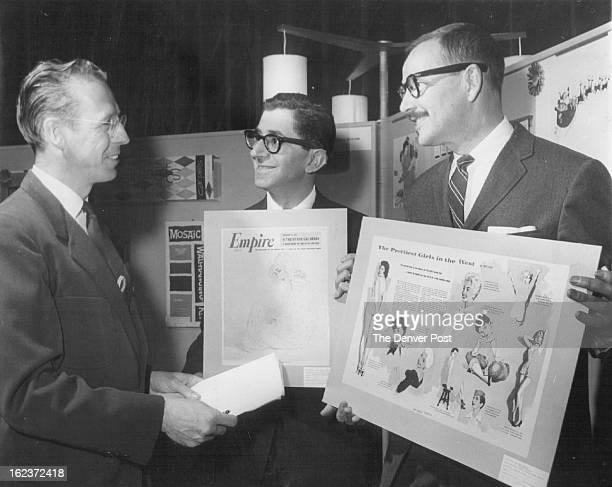 MAR 9 1958 Empire Artistry Wins Medal Award Gene Kramer President of the Art Directors Club of Denver presents a medal award to artist Fred Fixler...