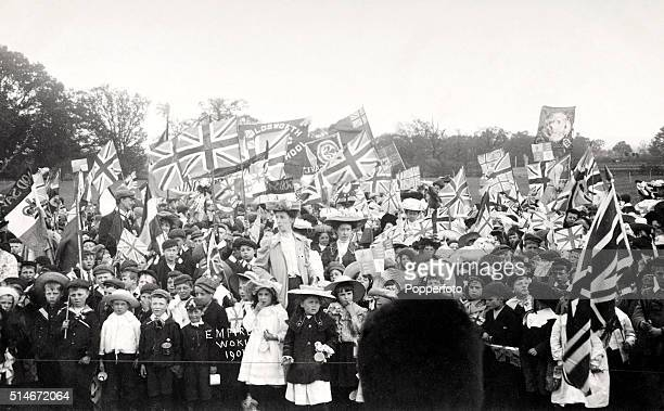 Empire Day celebrations with schoolchildren flags and banners at Woking circa 1901