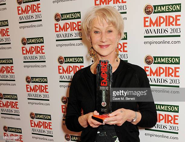 Empire Legend winner Dame Helen Mirren poses in the press room at the Jameson Empire Awards 2013 at The Grosvenor House Hotel on March 24 2013 in...