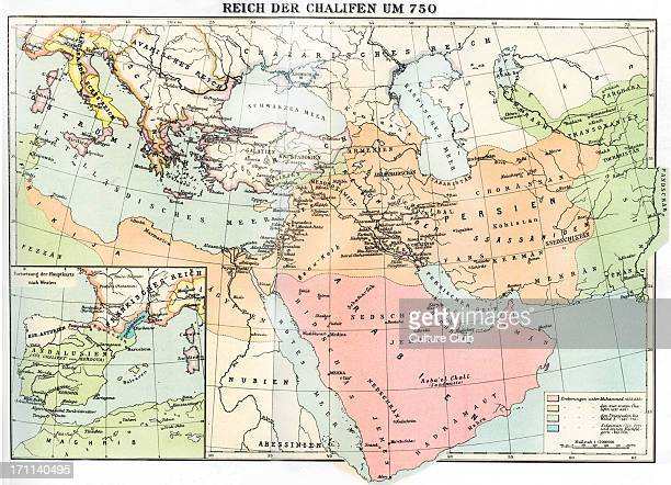 Empire of the Caliphate map in 750 The Caliphs were the early leaders of the Muslim nation Left hand square shows map of Spain Andalusia Asturia...