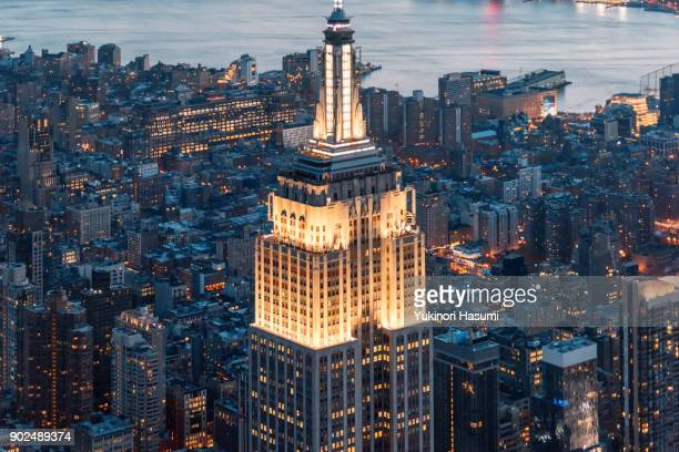 Empire State Building from above at twilight