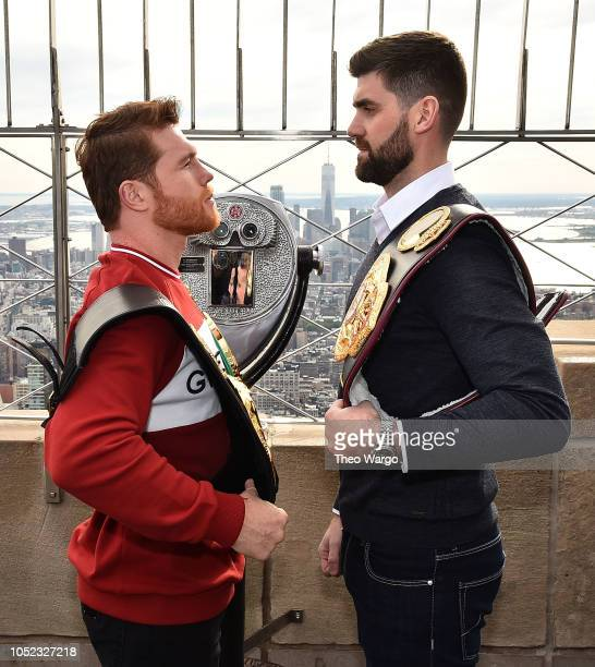 Empire State Building Hosts Boxing Champs Canelo Alvarez And Rocky Fielding at The Empire State Building on October 16 2018 in New York City