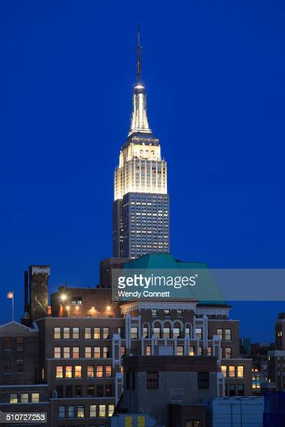Empire State Building Midtown Skyline at night West Side Manhattan New York City USA