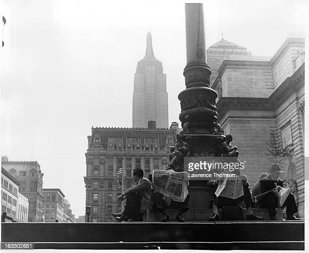 Empire State Building seen from NY Public Library in New York City 1940s
