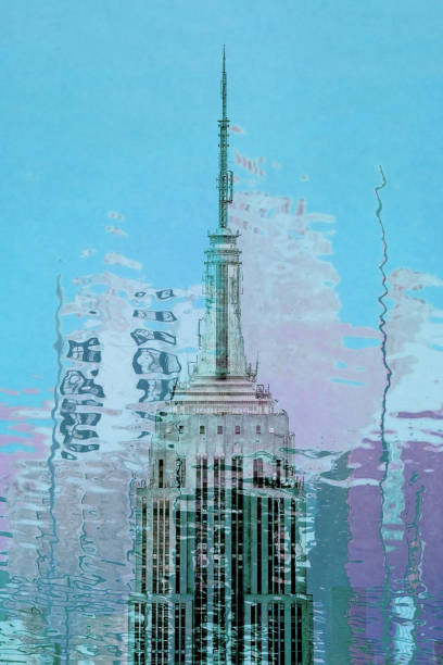 Empire State Building spire close up abstract