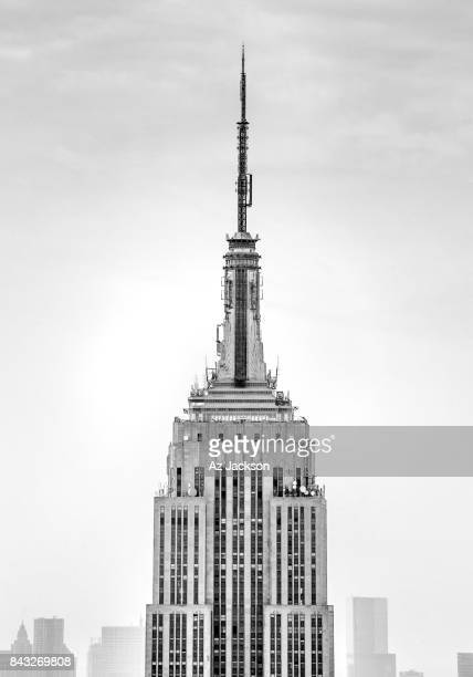 Empire State Building spire close up in black and white