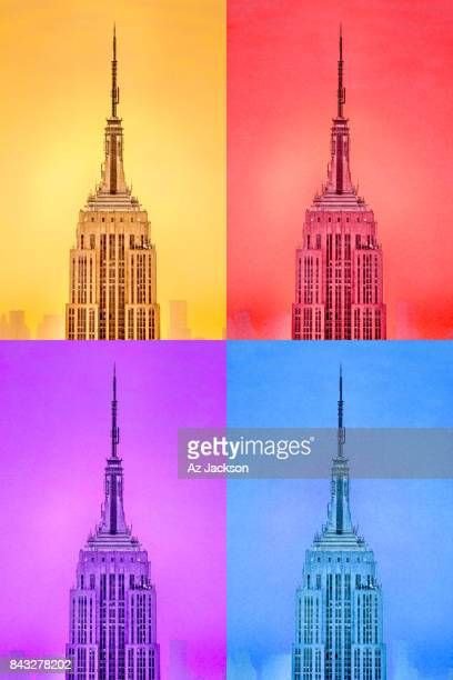 Empire State Building spire close up in four colors