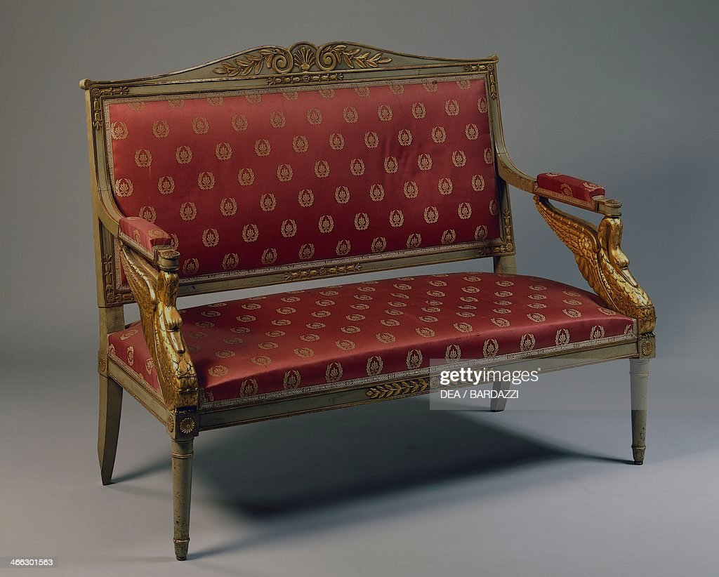 Empire Style Gilt And Lacquered Wood Sofa. France, 19th Century.