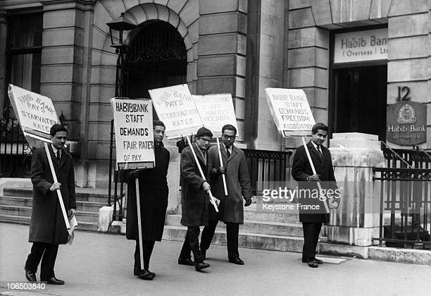Employed Staff From The Pakistani Bank During Industrial Action To Claim A Pay Raise In London On March 18Th 1963