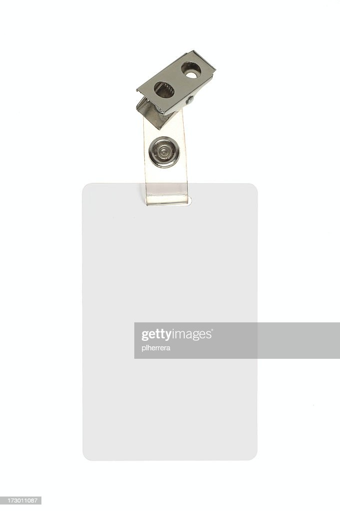 Employee Identification Badge On White Background : Stock Photo