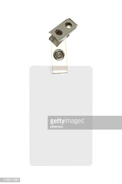 employee identification badge on white background - name tag stock photos and pictures